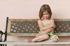 Child portrait - offended. Outdoors portrait of small cute child - offended look Stock Images