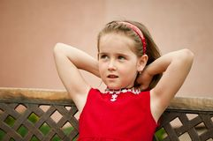 Child portrait - small girl in red Royalty Free Stock Photography