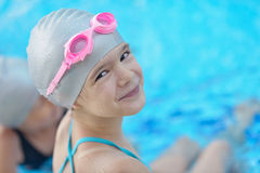 Child portrait on swimming pool Royalty Free Stock Image