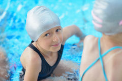 Child portrait on swimming pool Stock Images