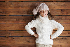 Child posing in knitted clothing Royalty Free Stock Image
