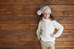 Child posing in knitted clothing Royalty Free Stock Photography