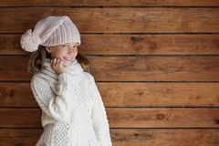 Child posing in knitted clothing Stock Photography
