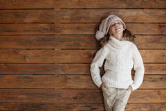 Child posing in knitted clothing Royalty Free Stock Photos