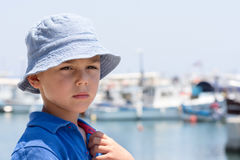 Child potrait in port or harbor Royalty Free Stock Images