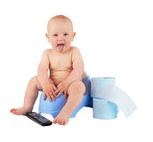 Child on potty Stock Images