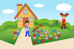 Child pour flowers on summer residence Stock Images