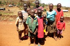 Child Poverty in Africa. A group of poor village children in a very remote rural area north of Mt. Elgon on the Kenyan-Ugandan border royalty free stock images