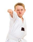 Child practicing his taekwondo moves Royalty Free Stock Image