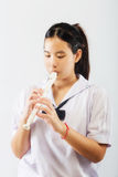 Child Practicing Recorder Royalty Free Stock Photos