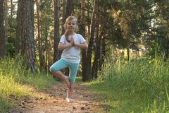 The child is practicing yoga in the forest royalty free stock photography