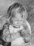 Child praying over meal. In graphite/pencil. 16 x 12 inches Royalty Free Stock Image