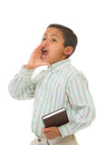 Child Preaching with Loud Voice. Isolated Over White Background Royalty Free Stock Photos
