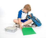 Child preparing to do homework Royalty Free Stock Photography