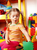 Child preschooler and construction set in playroom Stock Images