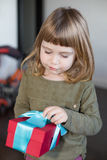 Child with present box in hands Royalty Free Stock Photography