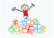 Child with presents Stock Photo