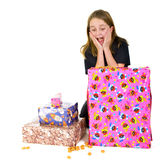Child with presents for Sinterklaas Royalty Free Stock Photos