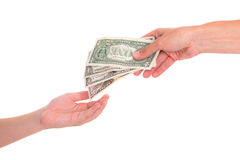 Child preserve pocket money. In front of white background - dollars Royalty Free Stock Image