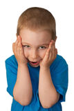 Child pressed his hands to his head. On white royalty free stock images
