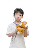 Child pretend to be doctor Royalty Free Stock Images