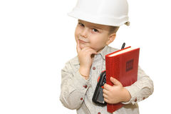 Child pretending to be an engineer Royalty Free Stock Photos