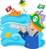Child playing to be a pirate. Royalty Free Stock Photography