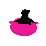 Child pretty playing silhouette illustration Stock Images