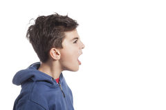 Child in profile shouting Stock Image