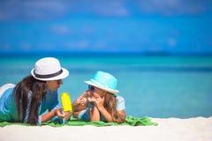 Child protection sun cream Stock Photos