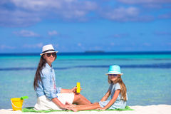 Child protection sun cream Royalty Free Stock Images