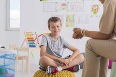 Child psychologist concept, little boy Stock Images