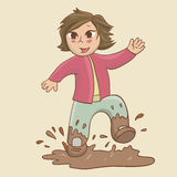 Child in the puddle Royalty Free Stock Image