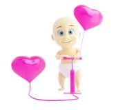 Child pump inflates balloons heart. On a white background Stock Photos