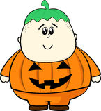 Child pumpkin costume Stock Photography