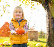 Child with pumpkin Royalty Free Stock Photos