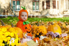 Child in pumpkin suit Stock Image