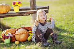 Child with pumpkins Royalty Free Stock Photography
