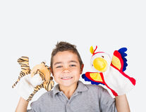 Child with puppets plush Stock Photos
