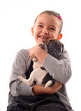 Child and puppy Royalty Free Stock Photography