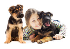 Child and puppy Royalty Free Stock Photos
