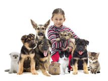 Child and puppy. On a white background Stock Photo