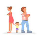 Child between quarreling parents. Sad child between quarreling parents. Vector illustration eps 10 Royalty Free Stock Photos