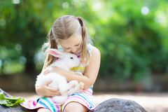 Child with rabbit. Easter bunny. Kids and pets. Child playing with white rabbit. Little girl feeding and petting white bunny. Easter celebration. Egg hunt with Stock Photo
