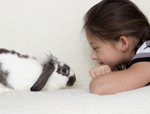 Child and rabbit Royalty Free Stock Photos