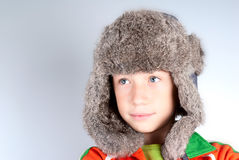 Child with rabbit hat stock images