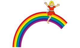 A child on a raimbow. Little girl sitting on a rainbow Royalty Free Stock Photography