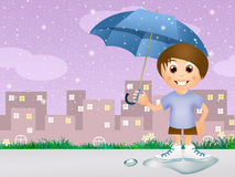 Child in the rain Stock Image