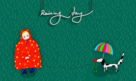 Child with raincoat illustration. Illustration of boy and dis dog in raining day with raincoat and umbrella Stock Photo