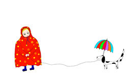 Child with raincoat illustration. Illustration of boy and dis dog in raining day with raincoat and umbrella Royalty Free Stock Photos